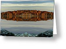 Mirrored Panoramic, Reflecting Fall  From The Banks Of  Bishop Pond Greeting Card