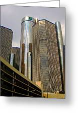Renaissance Center In Detroit Greeting Card by Guy Ricketts