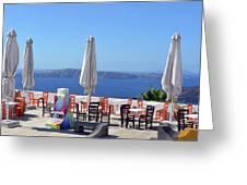 Restaurant By The Aegean Sea  In Santorini, Greece  Greeting Card
