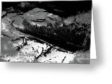 Rocky Mountains In Colorado With Snow Aerial Black And White Greeting Card
