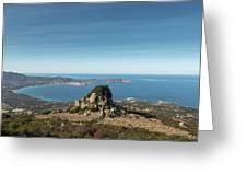 Rocky Outcrop Above Calvi Bay In Corsica Greeting Card
