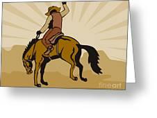 Rodeo Cowboy Bucking Bronco Greeting Card