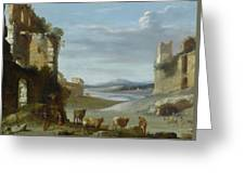 Roman Landscape With Ruins Greeting Card