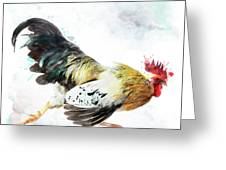 Rooster Running Greeting Card
