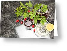 Rosehip Tea With Lemon In Glass Greeting Card