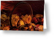 Roses Spilling Out Of Vase Greeting Card