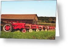 Row Of Antique Farmalls Greeting Card