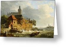 Rowing Boat In Stormy Seas Near A City Greeting Card
