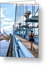Running The Bridge Greeting Card