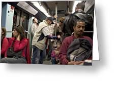 Rush Hour On Paris Metro Greeting Card