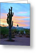 Saguaro Cactus And Church Greeting Card