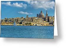 Sail Boat And Cathedral Greeting Card