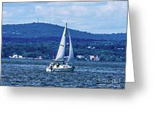 Sail Boat On The Hudson River Greeting Card