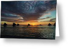 Sailing Boats At Sunset Boracay Tropical Island Philippines Greeting Card