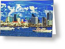 Sailing In San Diego Bay  Greeting Card