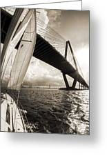 Sailing On The Charleston Harbor Beneteau Sailboat Greeting Card