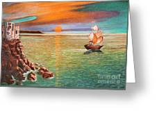 Sailing Ship And Castle Greeting Card