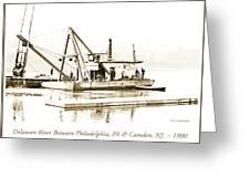 Salvage Barge, Delaware River, Philadelphia, C.1900 Greeting Card