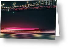 San Francisco Patry Ferry Casino Near Oakland Bay Bridge At Nigh Greeting Card