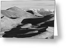 Monochrome Sand Dunes And Rocky Mountains Panorama Greeting Card