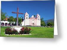Santa Barbara Mission And Cross Greeting Card
