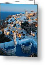Santorini Skyline Greeting Card