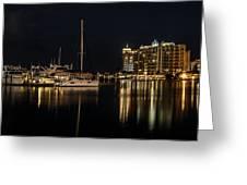 Sarasota Bay After Dark Greeting Card by Claudia Abbott