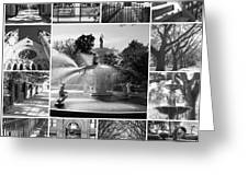 Savannah Collage Black And White Greeting Card