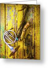Sax French Horn And Trumpet Greeting Card