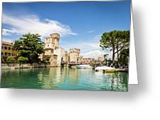 Scaligero Castle At The Entrence Of The Sirmione Medieval Town Greeting Card