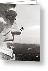 Scaling Mount Rushmore Greeting Card