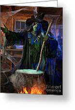 Scary Old Witch With A Cauldron Greeting Card