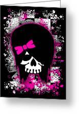 Scene Kid Girl Skull Greeting Card