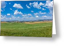 Scenic Tuscany Landscape With Rolling Hills In Val D'orcia, Ital Greeting Card