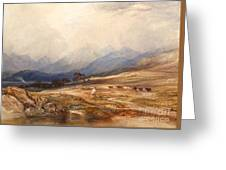 Scottish Landscape With Drover And Cattle Greeting Card