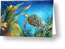 Sea Escape Iv - Hawksbill Turtle Flying Free Greeting Card