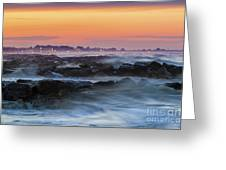 Sea Storm At Sunset Greeting Card