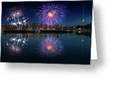 Seattle Skyline And Fireworks Greeting Card