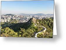Seoul City Wall From Inwangsan Mountain In South Korea Capital C Greeting Card