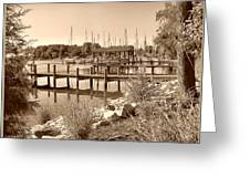 Sepia Waterscape Greeting Card