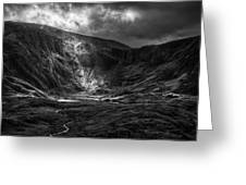 Shaft Of Light At Cwm Idwal Greeting Card