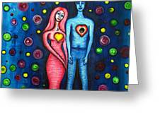 She Grieves The Hole In His Heart Greeting Card by Brenda Higginson