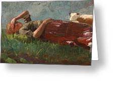 Shepherd Girl Resting Greeting Card