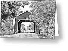 Shimanek Covered Bridge -surreal Bw Greeting Card