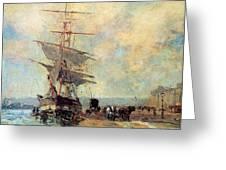 Ship In Harbour Rouen Albert-charles Lebourg Greeting Card