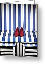 Shoes In A Beach Chair Greeting Card