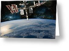 Shuttle Docked At Space Station Greeting Card