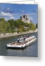 Sightseeing Boat On River Seine To Louvre Museum. Paris Greeting Card