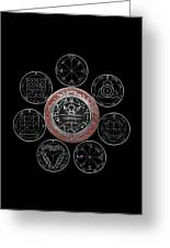 Silver Seal Of Solomon Over Seven Pentacles Of Saturn On Black Canvas  Greeting Card