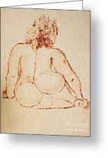 Sitting Fat Nude Woman Greeting Card
